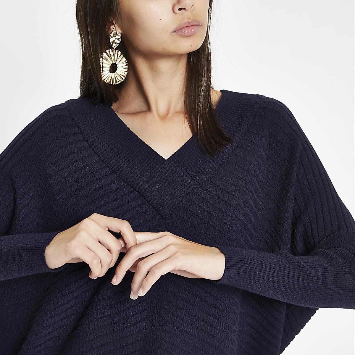 Navy ribbed knit V neck sweater