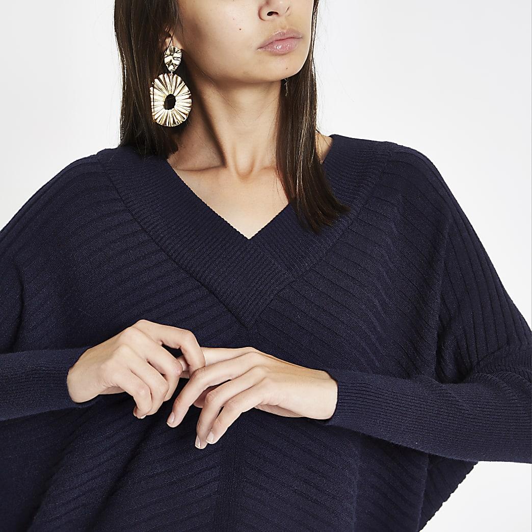 Navy ribbed knit V neck jumper