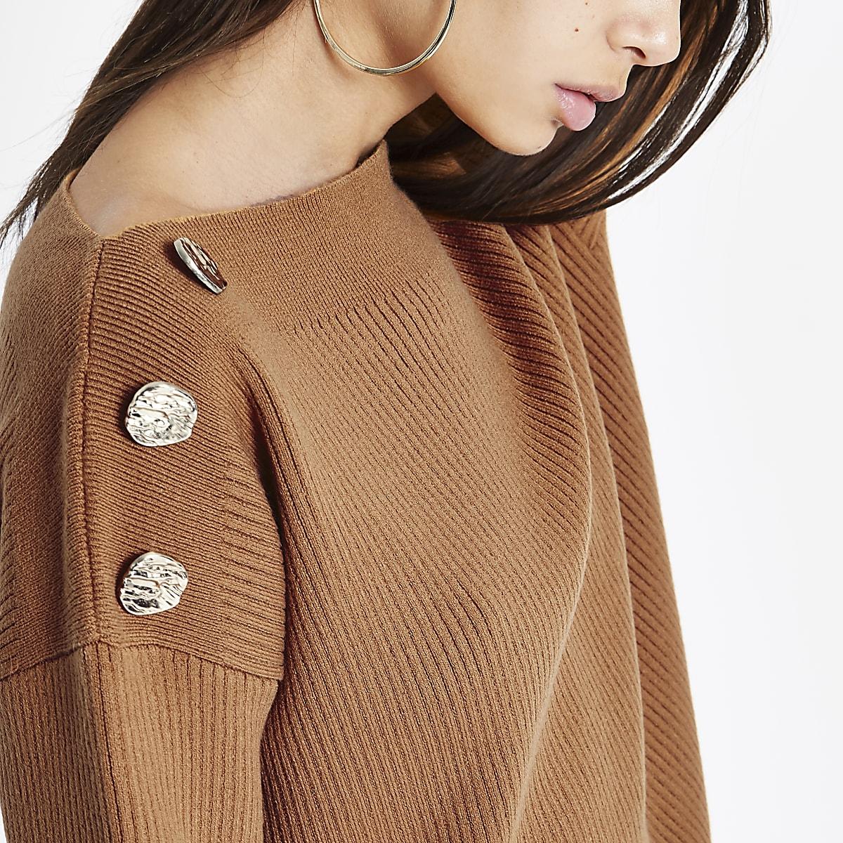 Light brown boat neck button detail jumper