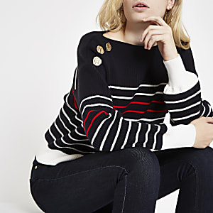 Navy stripe boat neck button detail jumper