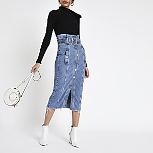 Mid blue paperbag denim midi skirt