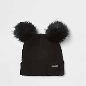 Zwarte beanie van imitatiebont met dubbele pompon
