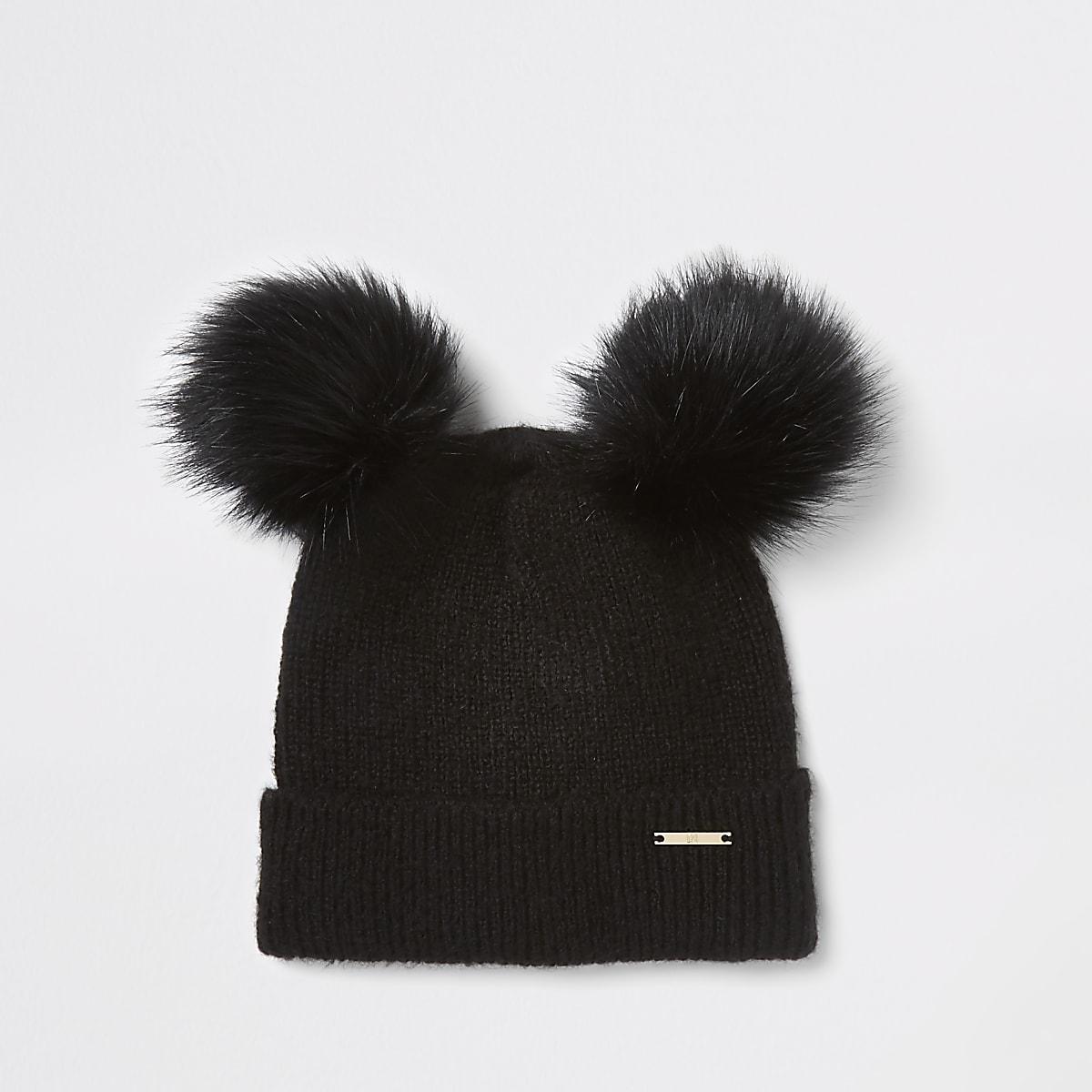 5f55af82e7c67 Black faux fur double pom pom beanie hat - Hats - Accessories - women