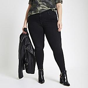 RI Plus - Amelie - Zwarte superskinny jeans met onafgewerkte zoom