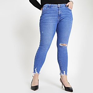 Plus – Amelie – Leuchtend blaue Super Skinny Jeans