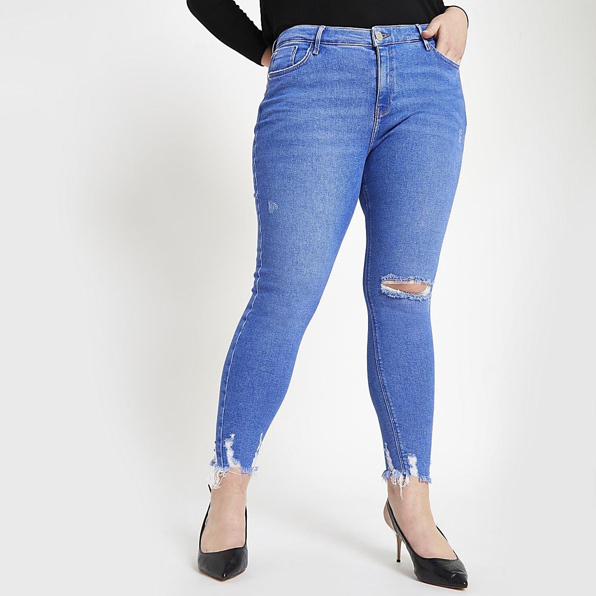RI Plus - Amelie - Felblauwe superskinny ripped jeans