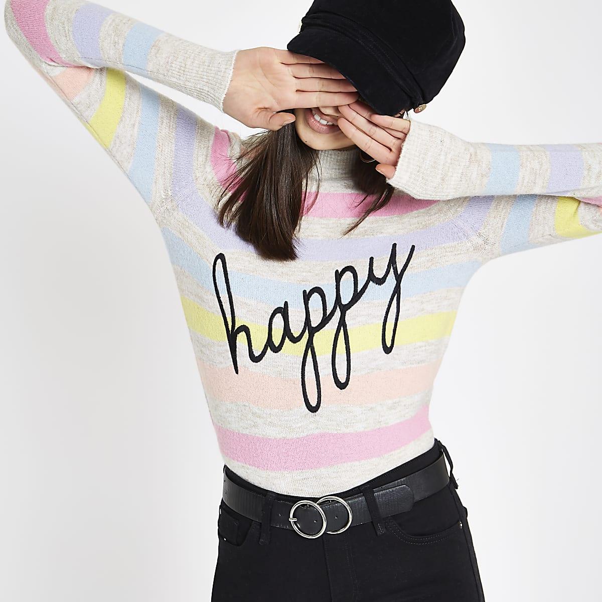 Cream stripe 'Happy' turtle neck sweater
