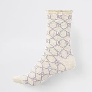 Beige RI logo print ankle socks