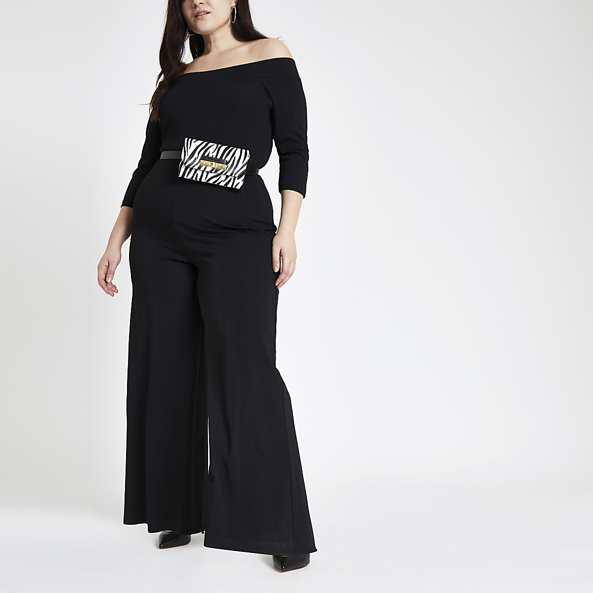 Plus black ribbed bardot jumpsuit