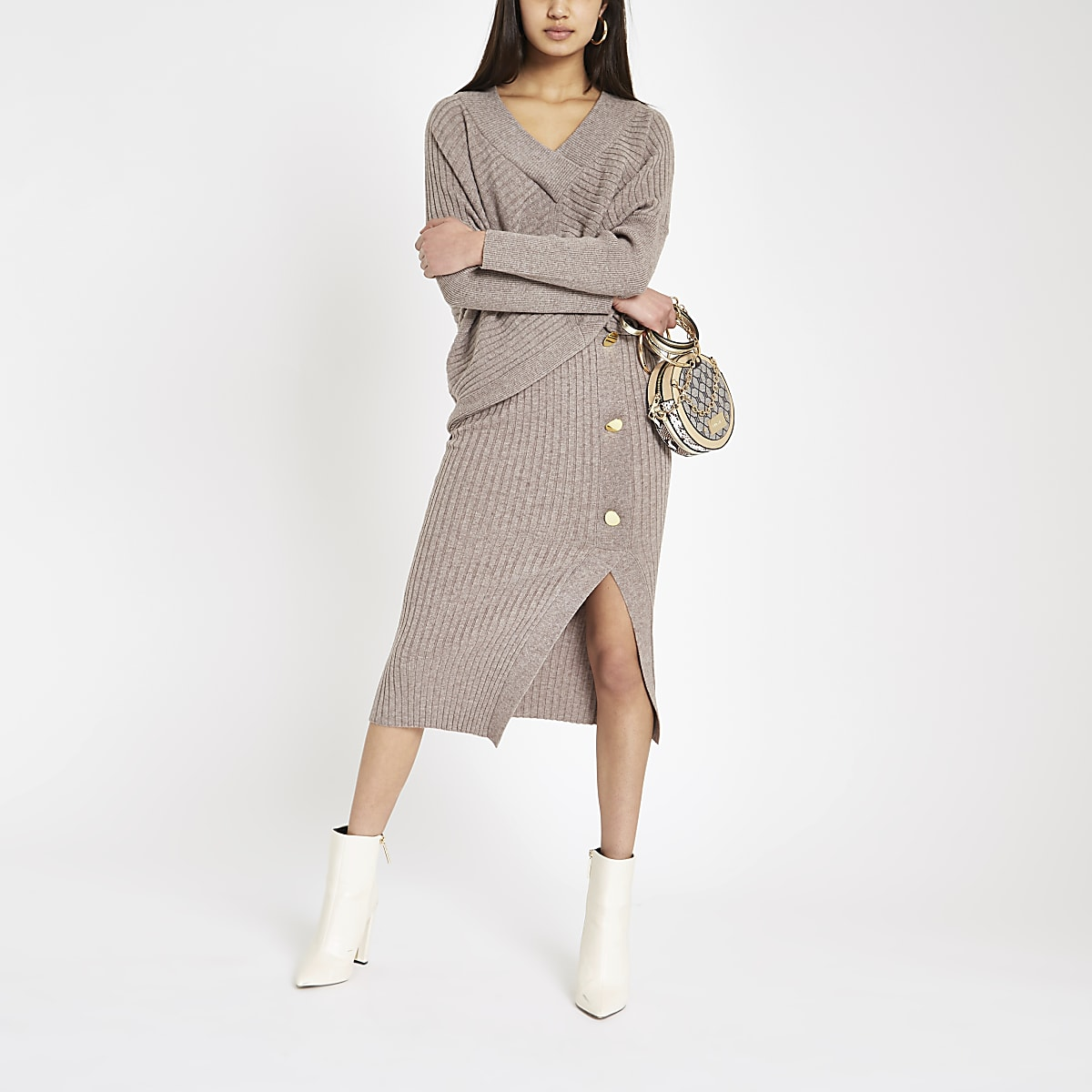 Beige ribbed button midi skirt