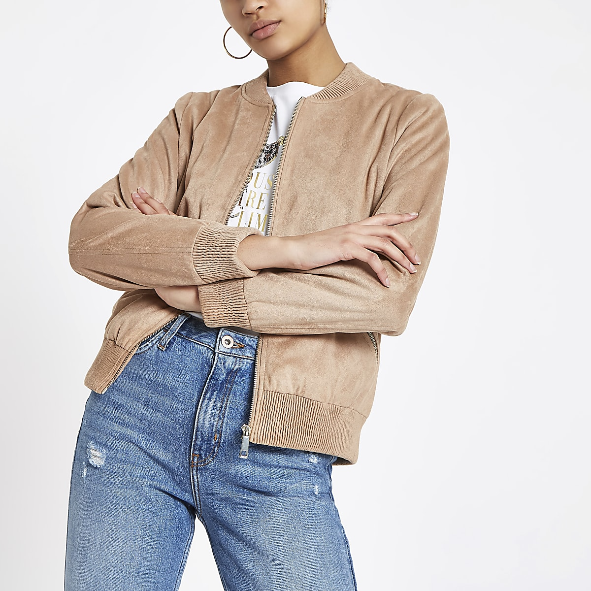 b8c6771eb Brown faux suede bomber jacket