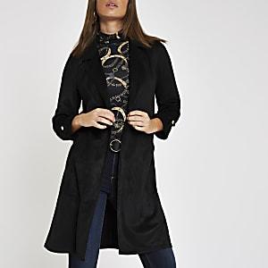 Veste longue en suédine noire