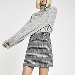 Black check snaffle mini skirt