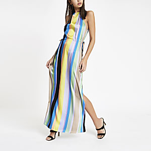 Blue stripe tie waist maxi dress