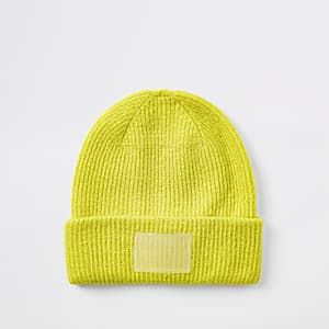 Bright yellow beanie hat