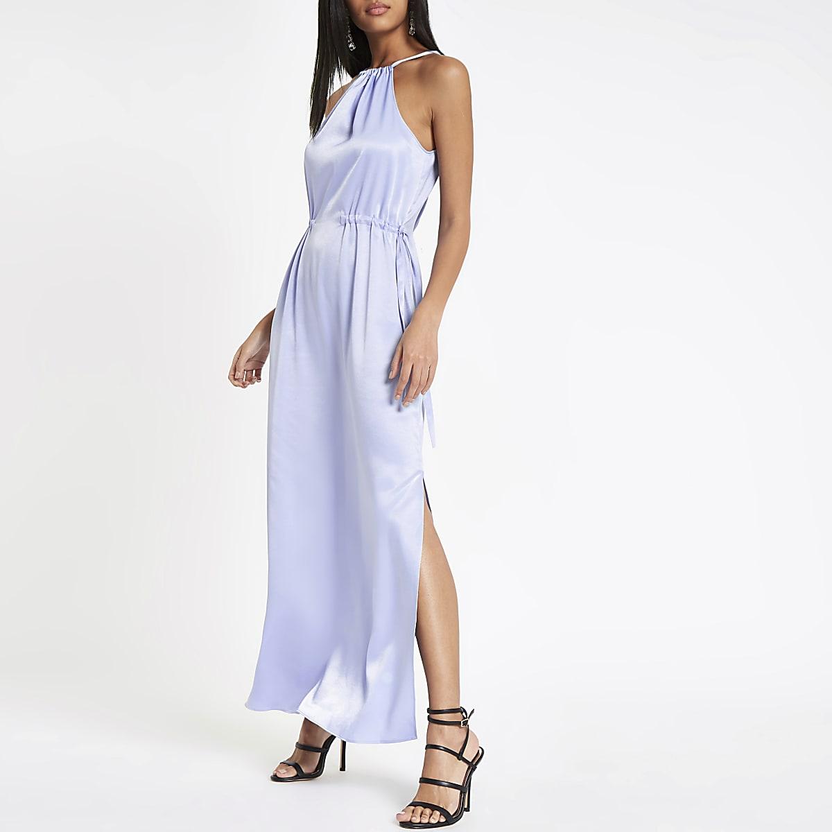 Lichtblauwe maxi-jurk met A-lijn
