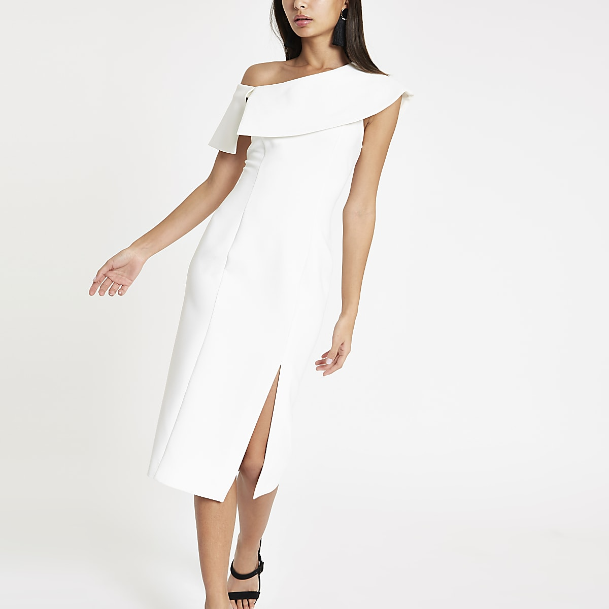White bodycon cape midi dress