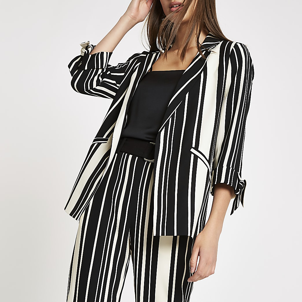 Black stripe tie sleeve blazer