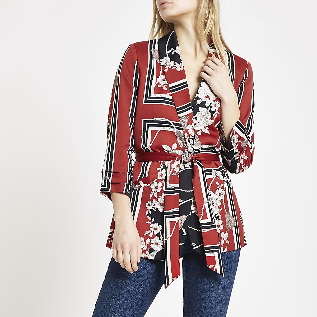 Red floral print belted ruched blazer