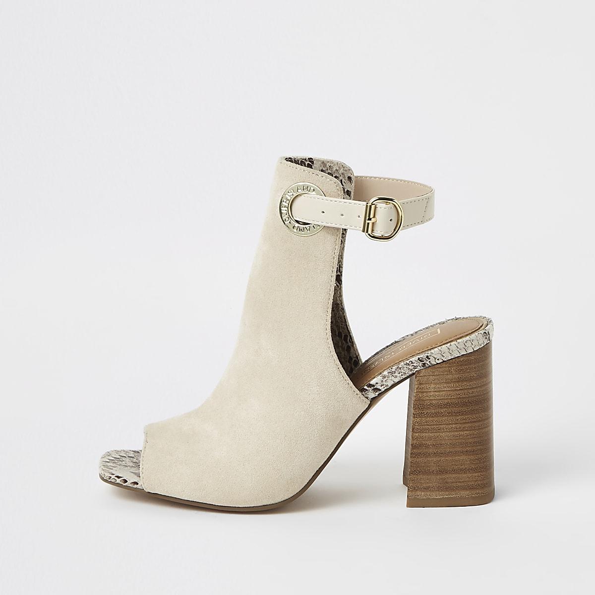 Beige buckle block heel shoe boots