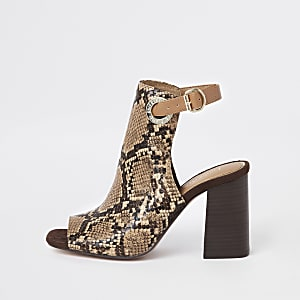Bottines ouvertes imprimé serpent marron