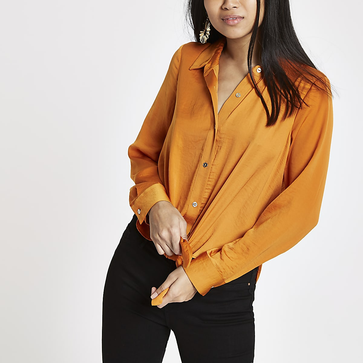 Petite orange tie front long sleeve shirt