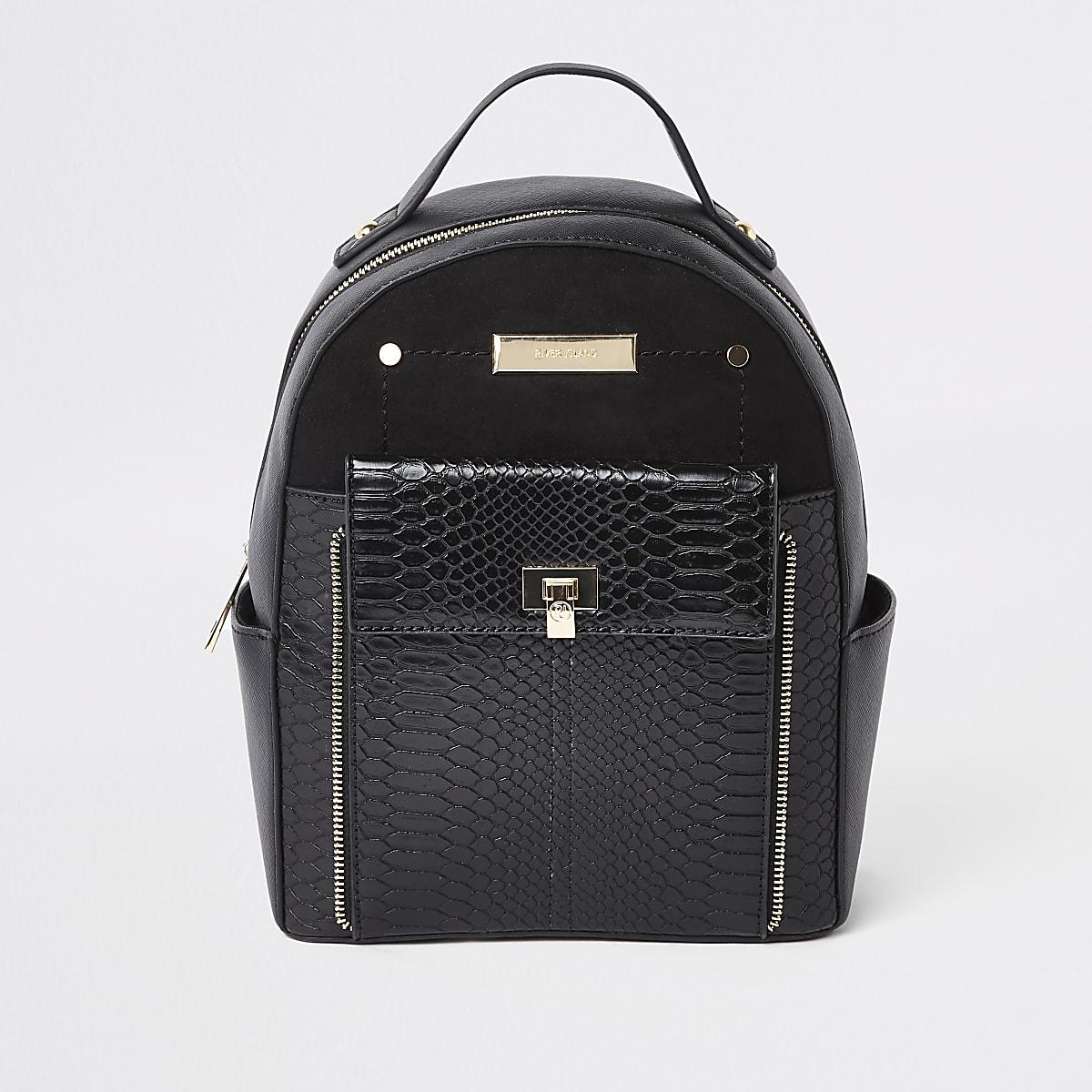 Black front pocket mini backpack