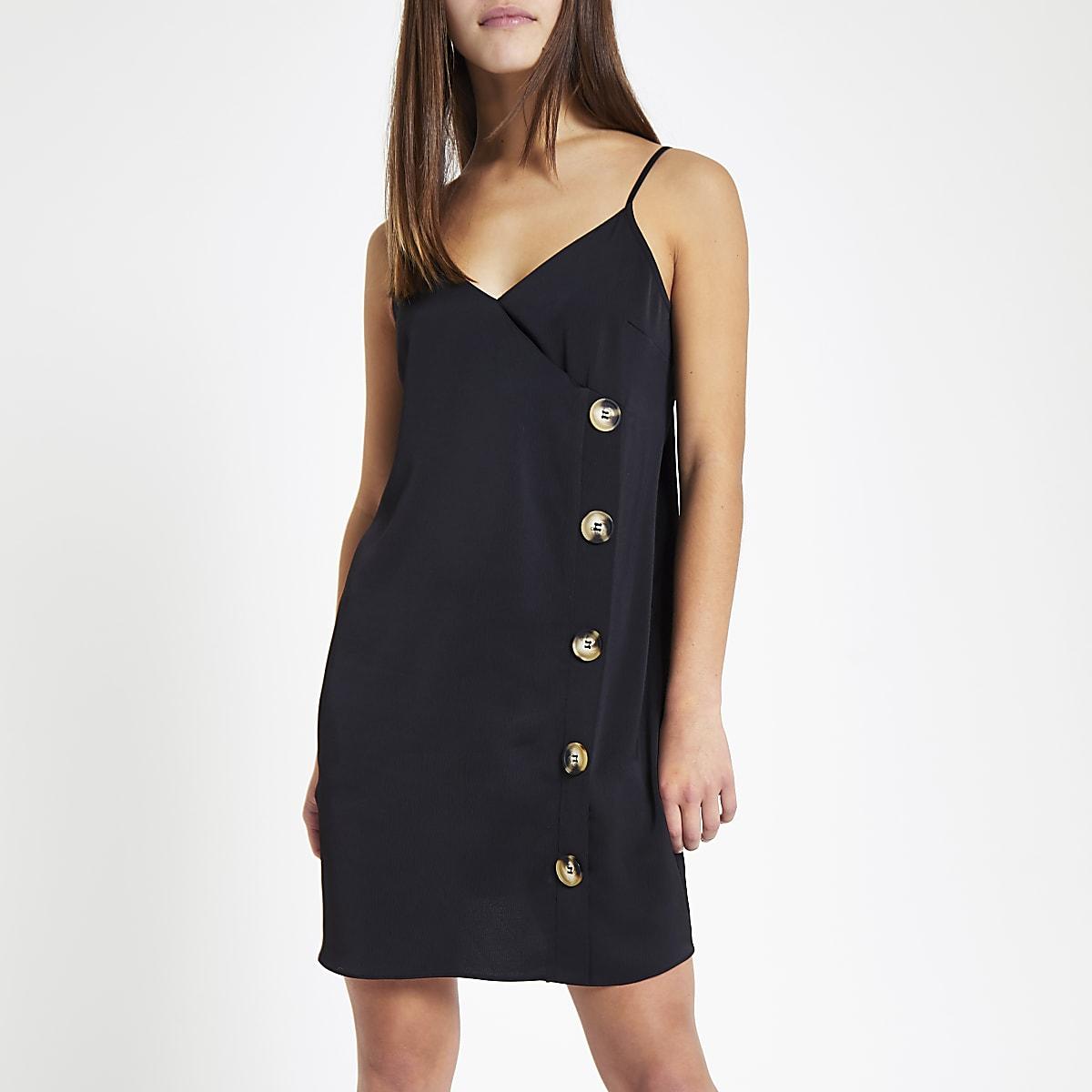 RI Petite - Zwart satijnen cami-jurk met ruime pasvorm