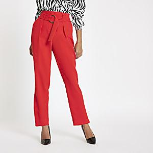 Petite red tie waist peg trousers