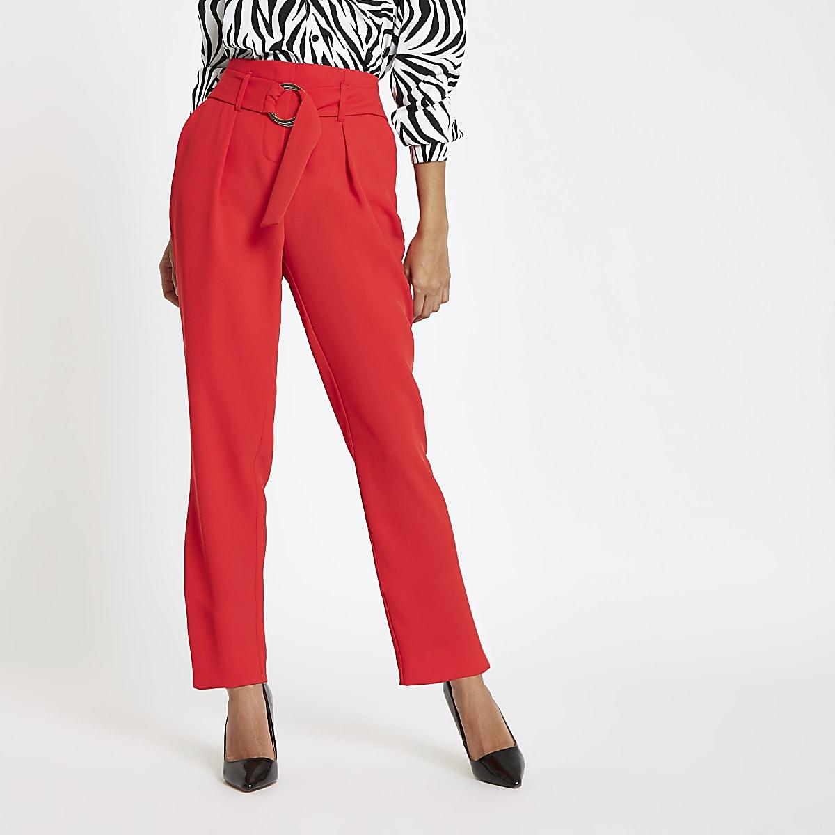 Petite red tie waist peg pants