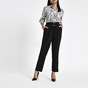 Petite – Jupe-culotte noire avec ceinture à boucle