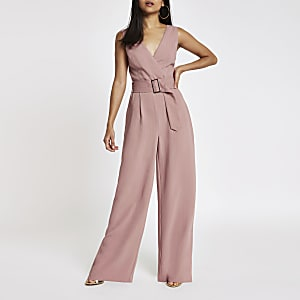 Petite pink belted wide leg jumpsuit