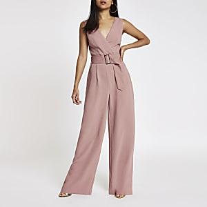RI Petite - Roze jumpsuit met ceintuur en wijde pijpen