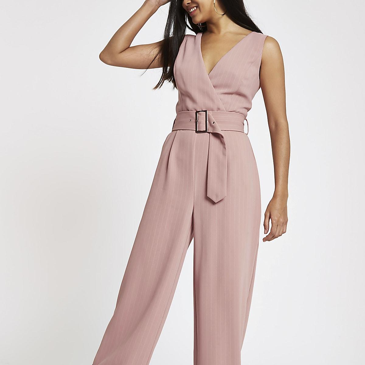 c5d345e59e3 Petite pink belted wide leg jumpsuit - Jumpsuits - Playsuits ...