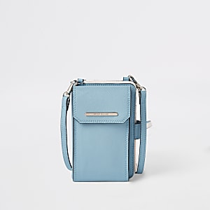 Blue cross body purse