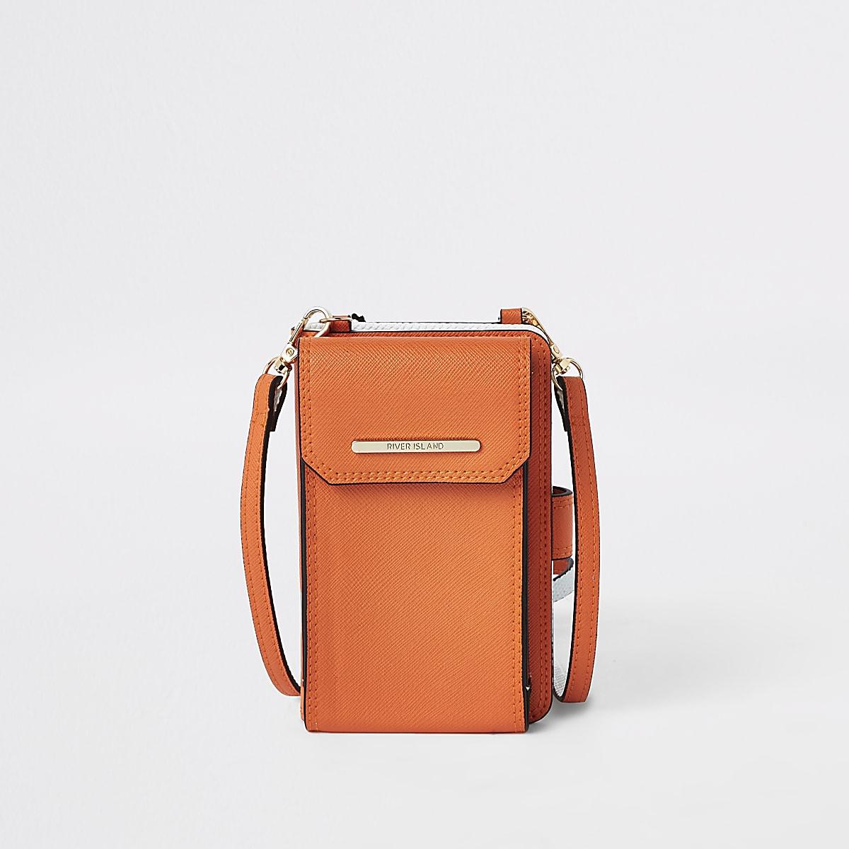 Orange cross body purse