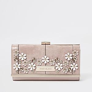 Pink 3D flower embellished clip top purse