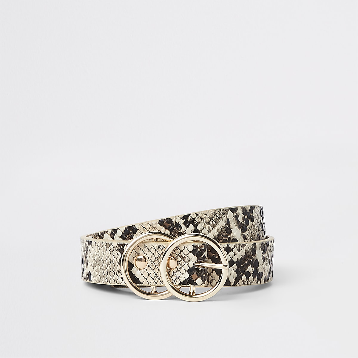 Beige snake print double ring mini jeans belt