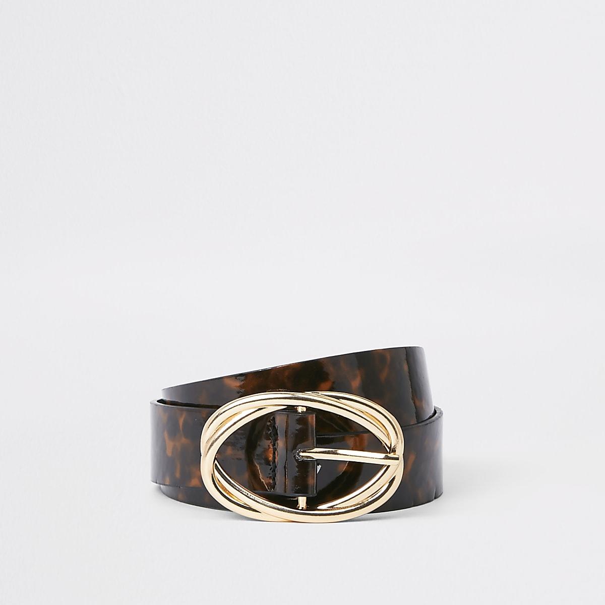 Brown tortoise shell ring belt