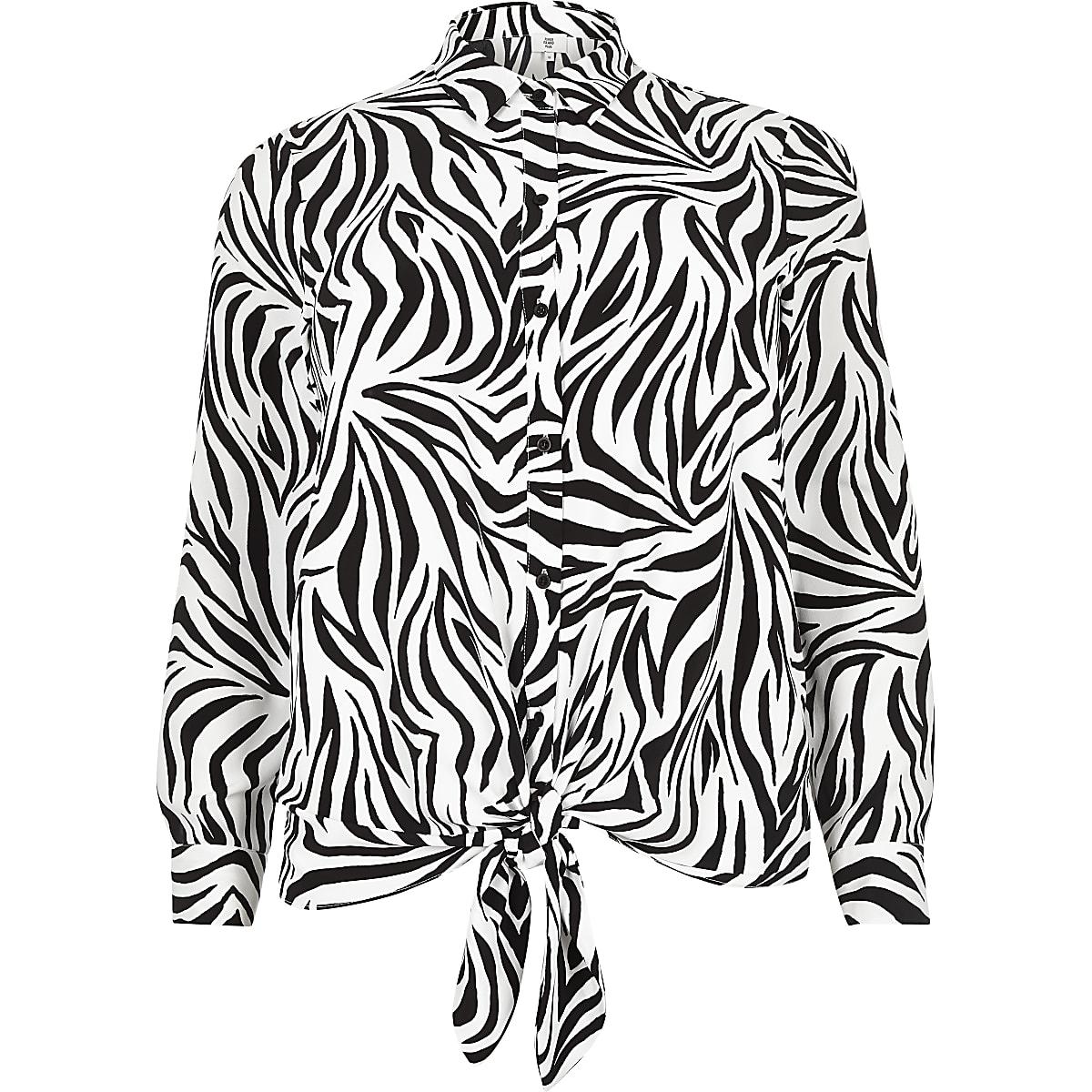 Plus white zebra print tie front shirt