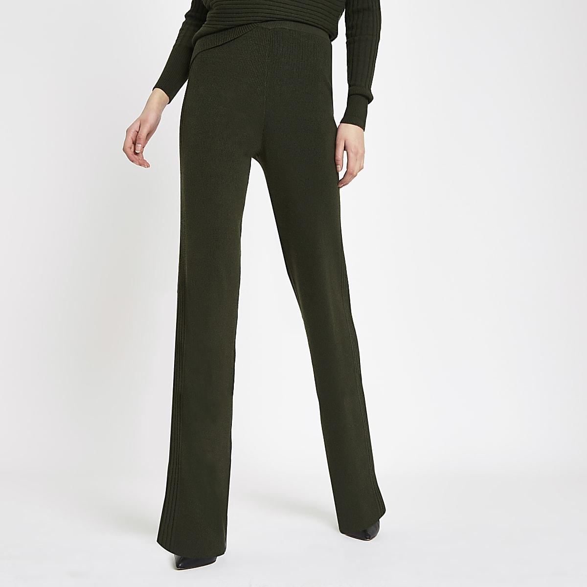 ee2d9d71 Khaki knit wide leg trousers - Wide Leg Trousers - Trousers - women