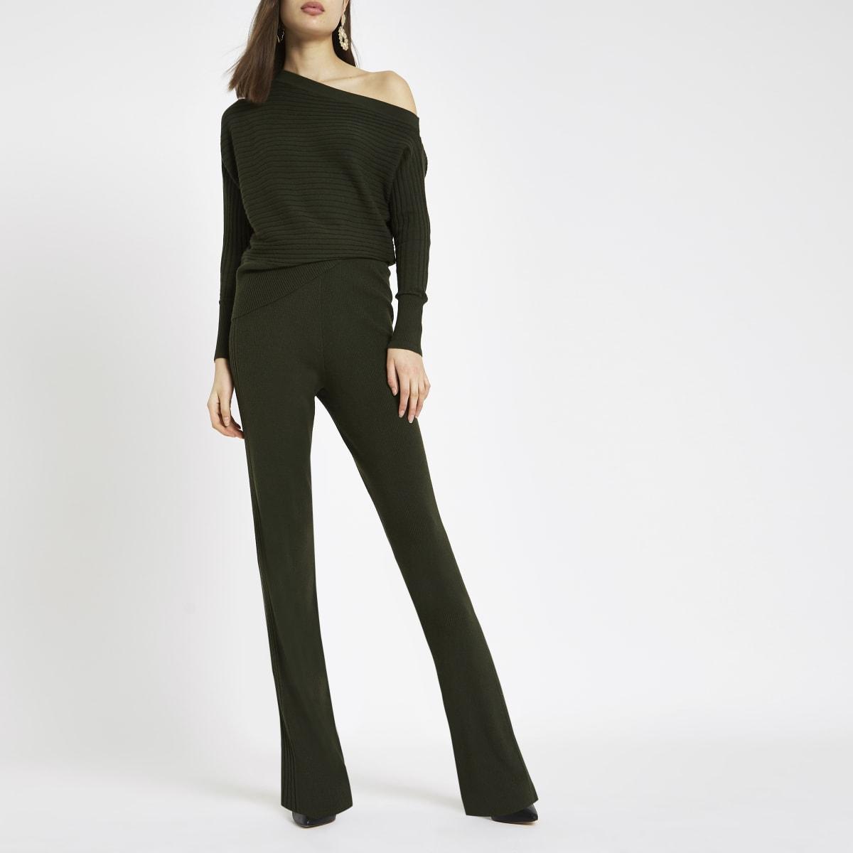 Khaki knit wide leg pants