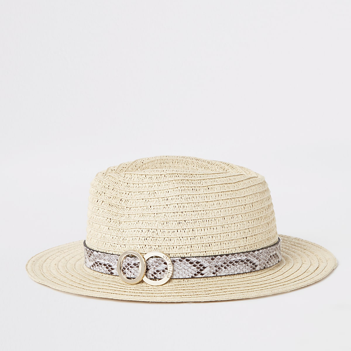 Beige strooien hoed met slangenprint op de rand