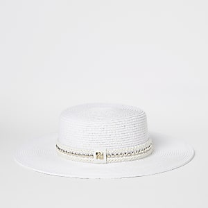 White woven straw gold bead hat