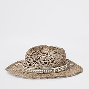 Beige western style straw hat
