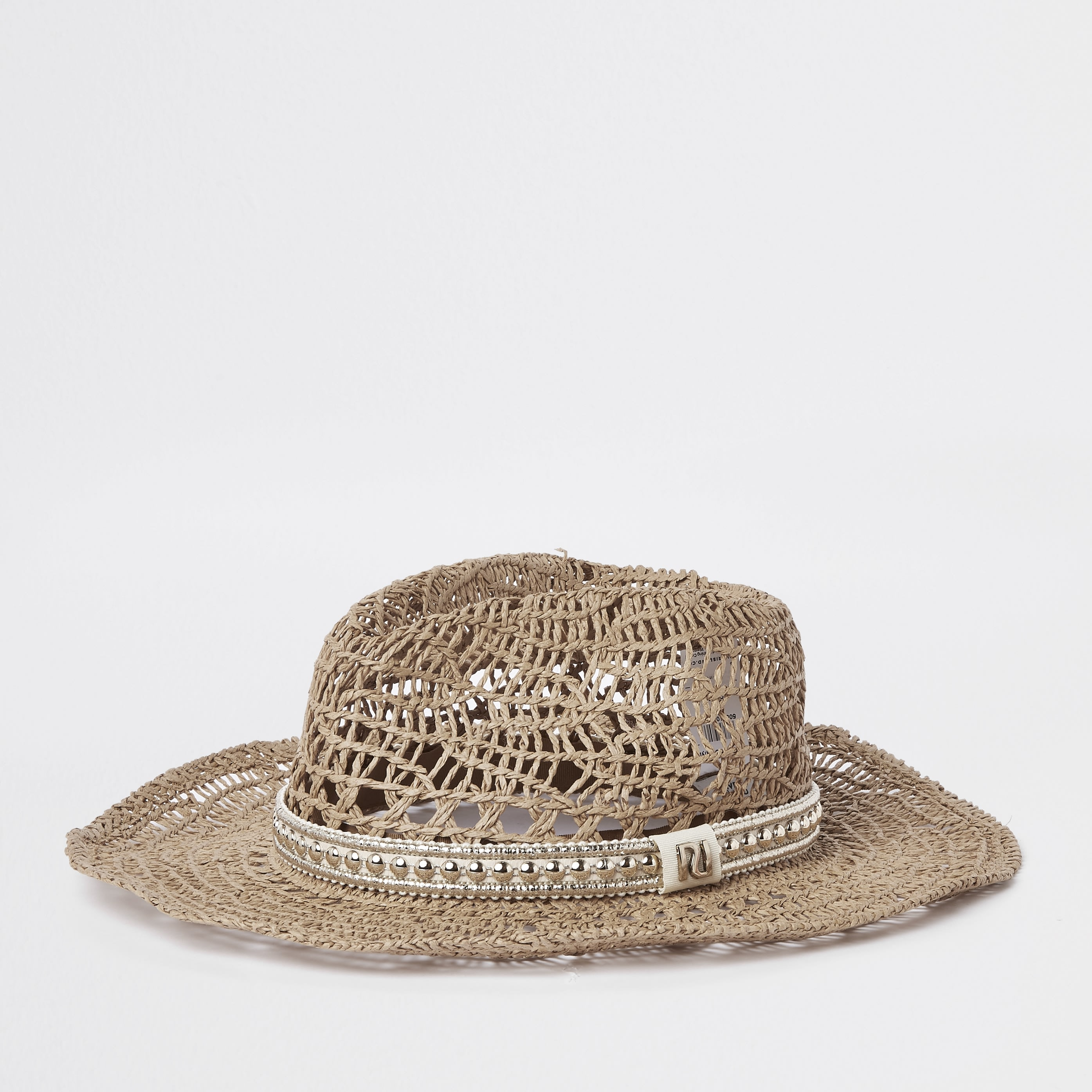 RIVER ISLAND | Mens Womens Beige Western Style Straw Hat | Goxip