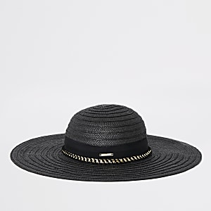 3e4b4eec740aa Black oversized floppy straw hat