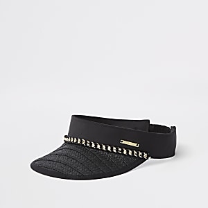 Zwarte strooien visorpet met ketting
