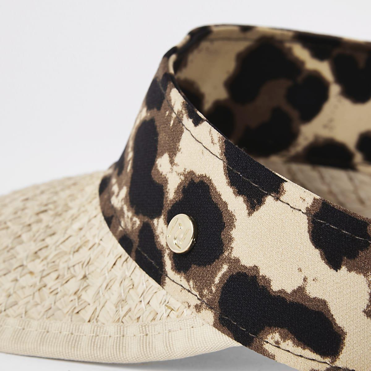 cbb370d45 Beige straw leopard print visor hat