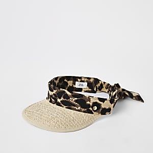 Beige straw leopard print visor hat